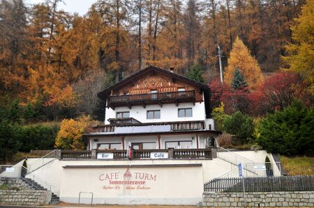 Classic building and resort of Skiparadise Nauders in countryside at Trentino-Alto valley in South Tyr or Alto Adige on November 5, 2016 in Bolzano or bozen, Italy Editorial