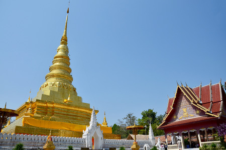 Buddha Relics in golden chedi of Wat Phra That Chae Haeng temple for people visit and pray on April 30, 2011 in Nan province Northern of Thailand Editorial
