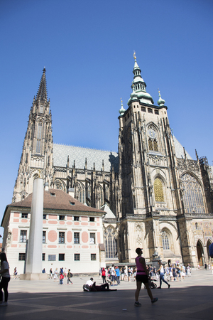 Czechia people and foreigner travelers walking for visit and travel at Prague castle on August 31, 2017 in Prague, Czech Republic