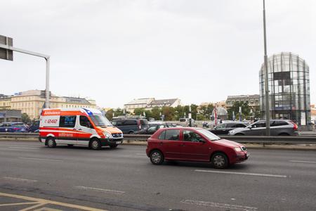 Traffic road and Ambulance van at front of Prague main railway station or praha hlavni nadrazi on August 31, 2017 in  Prague, Czech Republic.