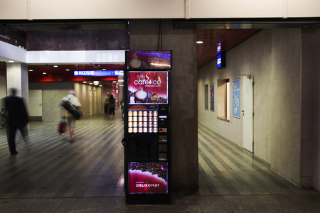 appliance: Automatic vending machine coffee and other hot drink for people buy at Prague main railway station or praha hlavni nadrazi on August 31, 2017 in Prague, Czech Republic.