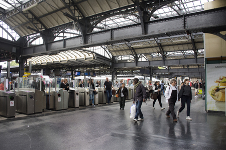 French people and foreigner travlers walk and wait train at Gare de Paris-Est or Paris Gare de lest railway station of Paris Metro on September 7, 2017 in Paris, France