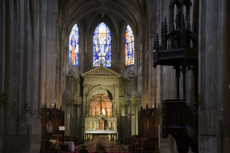 Architecture interior of Church of Saint-Laurent Eglise or Saint-Laurent de Paris for French and foreigner people praying and visit on September 7, 2017 in Paris, France