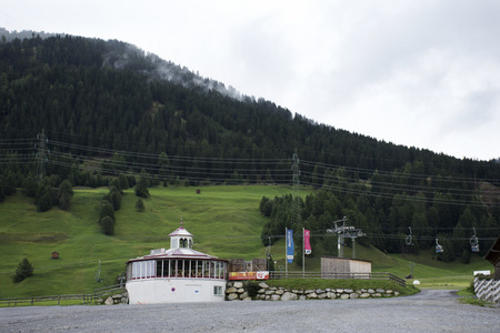 Area of cable car station for travelers playing ski and visit top of mountain Alps at Nauders city near Austrian-Italian border on September 2, 2017 in Tyrol, Austria Editorial