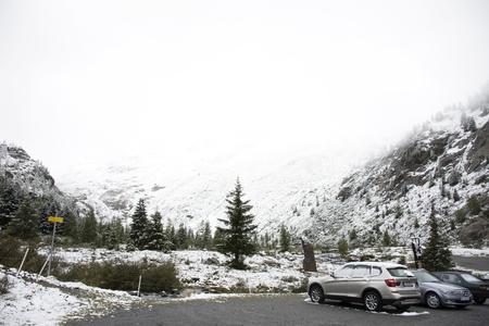 Travelers people stop car at parking for looking and visit view of Ferner Garten in Kaunergrat nature park near Kaunertal Valley on September 3, 2017 in Tyrol, Austria