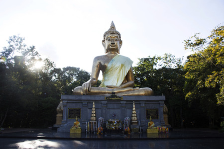 Golden big buddha statue name Phra Mongkol Ming Muang for people respect praying and visit at Buddha garden on September 18, 2017 in Amnat Charoen, Thailand
