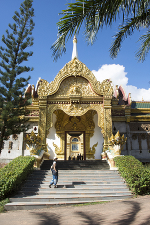 Wat Phra Maha Chedi Chai Mongkol (Nong Phok) Temple for thai people and foreigner travelers travel visit and praying buddha statue in Roi Et, Thailand