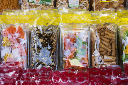 Sweets snack and Food product and gift souvenir at local shop for sale travelers people in Laem Phak Bia in Phetchaburi, Thailand Banco de Imagens