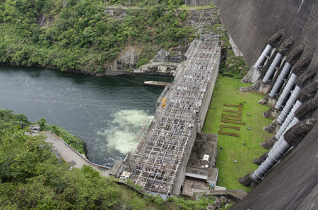 Building electricity power plant at Bhumibol Dam and spillways formerly known as the Yanhee Dam in Tak, Thailand