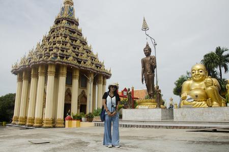 Thai women people visit and respect praying Katyayana or Gautama Buddha thai name called Phra sangkatjay at Wat Sakae Krang on July 19, 2017 at Uthai Thani, Thailand Stock Photo