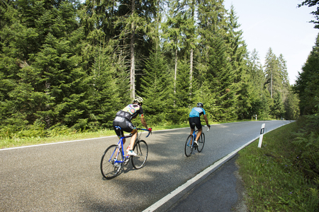 German people riding bicycle practice for race on the road in mountain at Black forest on August 27, 2017 in Baden-Wurttemberg, Germany Editorial