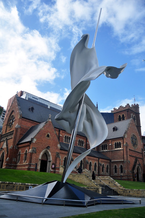 The contemporary sculpture Ascalon for australian people and foreigner travelers visited and travel at outside St Georges Cathedral on May 22, 2016 in Perth, Australia