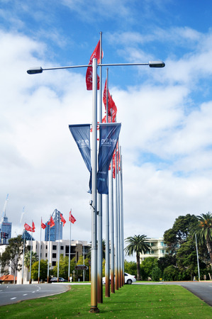 Flag and lighting pole on the road at Perth city on May 15, 2016 in Perth, Australia