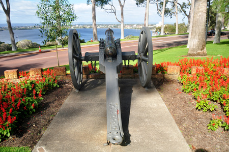 Ancient cannons in garden for Australian people and foreigners traveler visit and looking at Kings Park and Botanic Garden on May 15, 2016 in Perth, Australia Editorial