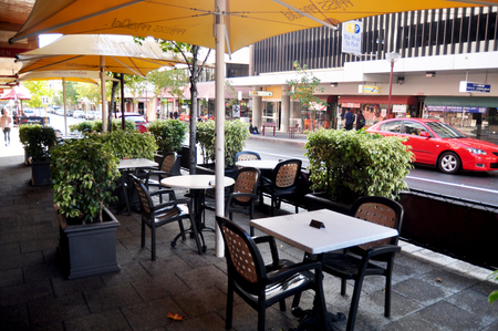 Furniture and decoration at front of restaurant and cafe for people use service at Hay street on May 21, 2016 in Perth, Australia