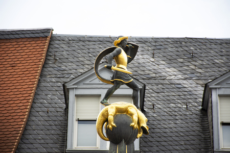 St. George fountain with a statue of Saint George the dragon slayer at Speyer town in Rhineland-Palatinate, Germany, Europe