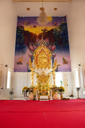 Interior ubosot and buddha statue of beautiful thai temple for people travel visit and respect praying at countryside on May 29, 2018 in Rayong, Thailand