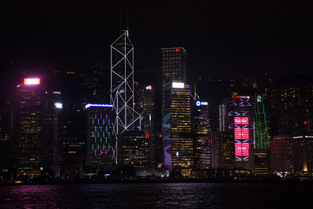 Symphony of Lights is the spectacular light and sound show at Victoria Harbour in evening time for show travelers people on September 5, 2018 in Hong Kong, China Editorial