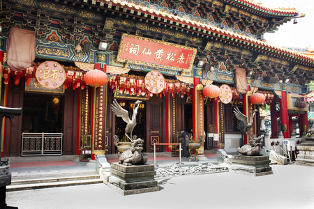 Dragon tortoise and Vermilion Bird statues four celestial animals of Chinese mythology guardian at Wong Tai Sin Temple on September 9, 2018 in Hong Kong, China