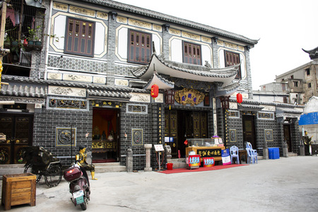 Classic retro vintage buildings for chinese people and foreigner traveler travel visit in old town area at Shantou downtown or Swatow city on May 9, 2018 in Guangdong, China