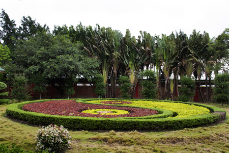 Design and decoration gardening chinese style Yin Yang pattern of Tian Tan Garden in Tiantan temple at Shantou town or Swatow city on May 7, 2018 in Chaozhou, China
