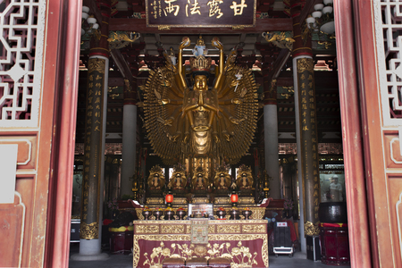 Guanyin or Guan Yin bodhisattva goddess statue for chinese people visit respect praying in Kaiyuan Temple at Teochew town or Chaozhou city on May 8, 2018 in Guangdong, China Editorial