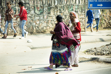 Life and lifestyle of Indian person and foreigners people at beside road of rural countryside in morning time at Delhi city on March 17, 2019 in New Delhi, India Editorial