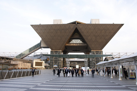 Tokyo, Japan - March 29, 2019 : Japanese people and foreigners worker walking go to trains and bus station after finished work at tokyo big sight in Ariake at Koto city Editorial