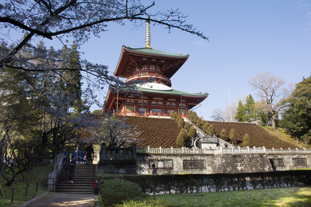 Japanese people and foreigner traveler walking visit and praying in Daitou or Great pagoda of Naritasan Shinshoji Temple at Chiba Prefecture on March 31, 2019 in Tokyo, Japan Фото со стока - 130699675