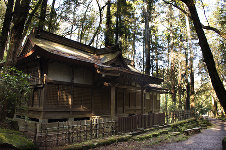 Old wooden shrine in forest of Naritasan Shinshoji Temple for japanese people and foreigner traveler visit and praying at Chiba Prefecture on March 31, 2019 in Tokyo, Japan