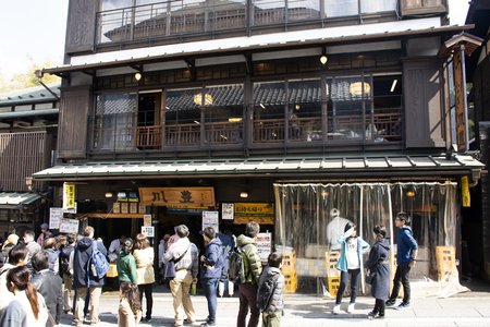 Tokyo, Japan - March 31, 2019 : Japanese people and foreign travelers walk shopping and travel visit in street market of Naritasan Omote Sando or Narita old town at Chiba Editorial