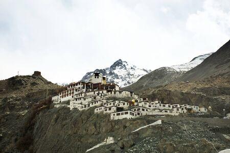 Diskit Monastery Galdan Tashi Choling Gompa in Hunder or Hundar village of nubra tehsil valley while winter season for tibetan and people travelers visit at Leh Ladakh in Jammu and Kashmir, India Stock Photo