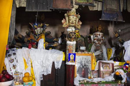 JAMMU KASHMIR, INDIA - MARCH 21 : Statues of guardian deities, whose heads for tibetan travelers in Diskit Monastery Galdan Tashi Chuling Gompa at Leh Ladakh on March 21, 2019 in Jammu Kashmir, India
