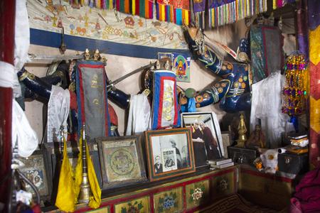 JAMMU KASHMIR, INDIA - MARCH 21 : Statues of guardian deities, whose heads for tibetan travelers in Diskit Monastery Galdan Tashi Choling Gompa at Leh Ladakh on March 21, 2019 in Jammu Kashmir, India