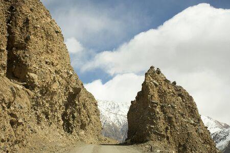 Be careful stone slide landslide on the road between Diskit - Turtuk Highway and Pangong lake road go to Pangong Tso high grassland lake while winter season at Leh Ladakh in Jammu and Kashmir, India Reklamní fotografie