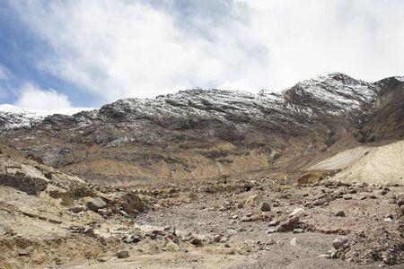 Be careful stone slide landslide on the road between Diskit - Turtuk Highway and Pangong lake road go to Pangong Tso high grassland lake while winter season at Leh Ladakh in Jammu and Kashmir, India