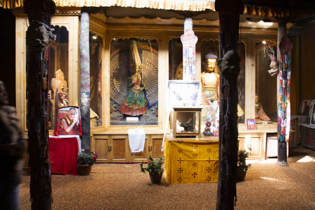 JAMMU KASHMIR, INDIA - MARCH 20 : Inside and interior design with angel god buddha statue of Leh Stok Palace for people visit and praying at Leh Ladakh on March 20, 2019 in Jammu and Kashmir, India