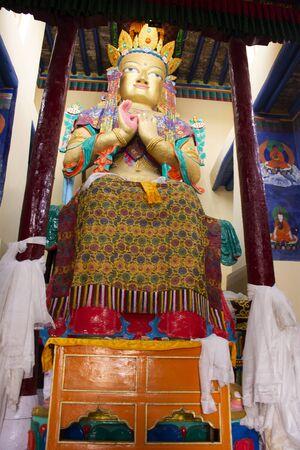 JAMMU KASHMIR, INDIA - MARCH 19 : Maitreya Buddha in Tsemo Maitreya Temple or Namgyal Tsemo Monastery for people travel visit respect praying at Leh Ladakh on March 19, 2019 in Jammu Kashmir, India