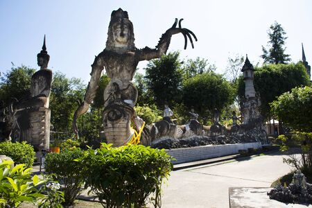 Sala Kaew Ku or Sala Keoku fantastic concrete sculpture park quirky or just plain bizarre inspired by Buddhism for thai people visit travel and respect praying at Nongkhai city in Nong Khai, Thailand