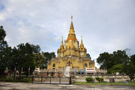 Phra That Chedi Phra Phuttha Dhamma Prakat stupa and pagoda in Wat Phutthathiwat temple for thai people and foriegner travelers travel visit and respect praying Buddha at Betong in Yala, Thailand