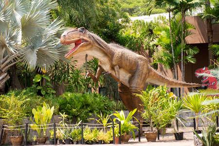KALASIN, THAILAND - OCTOBER 2 : Dinosaur model in Sirindhorn Museum and Phu Kum Khao Dinosaur Excavation Site for travelers people travel visit at Sahatsakhan on October 2, 2019 in Kalasin, Thailand
