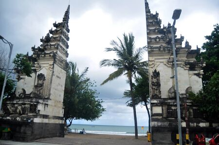 Landmarks of Bali for Balinese people and Indonesian people and foreign travelers travel visit and relax at Kuta Beach in Bali, Indonesia