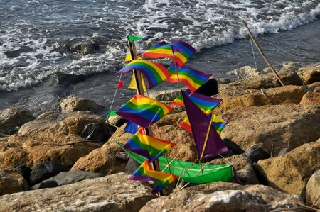 Creative art and colorful kite sail ship image style for sale and playing at Kuta Beach in Bali, Indonesia