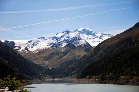View landscape of Gepatsch Stausee Reservoir lake with Alps mountain in Kaunertaler Gletscher at Kaunertal village alpine valley in the Landeck distric in Tyrol, Austria