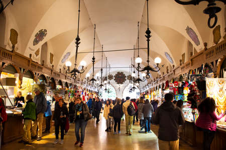 Polish or Pole people and foreigner travelers travel visit and shopping in cloth hall shop at Rynek Glowny Market in Krakow Old Town Main Square at Stare Miasto on September 20, 2019 in Lesser, Poland