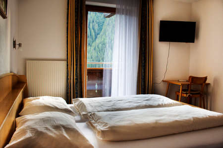 Decoration Interior furniture modern style of elegance bedroom boutique style with double bed for travelers use in resort and hotel in Obergurgl village Solden valley at Otztal Alps in Tyrol, Austria Editorial