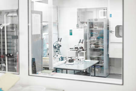 Laboratory for the production of biomaterials. People do research. Banco de Imagens