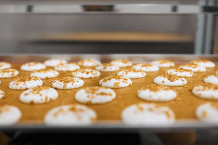 Close-up of beautiful pastries. Fresh cookies are prepared in the oven