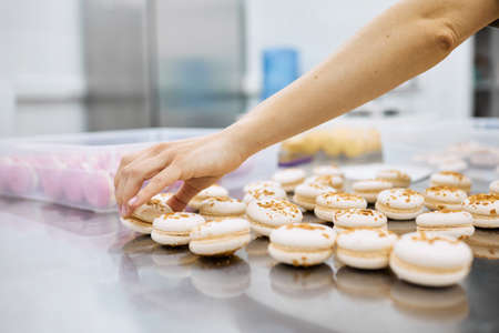 A young girl holds fresh cakes and macaroons in her hands