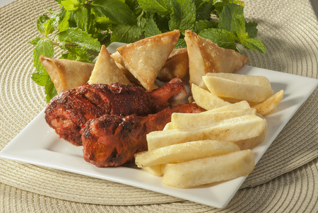 Samosa & Chicken tikka with french fries